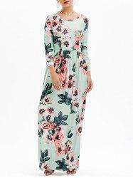 Pockets Long Floral Print Maxi Dress - GREEN