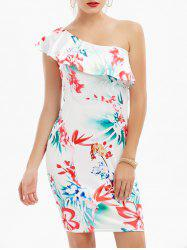 One Shoulder Floral Short Flounce Dress - WHITE