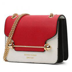 Chain Metal Bar Color Block Crossbody Bag - RED