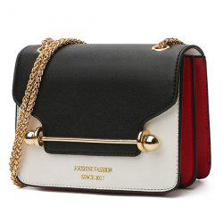 Chain Metal Bar Color Block Crossbody Bag -