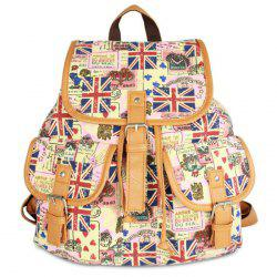 Buckle Straps Canvas Printed Backpack