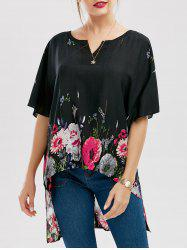 Floral Print High Low Batwing Sleeve Blouse