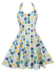 Vintage Geometric Print Halter Sleeveless Dress