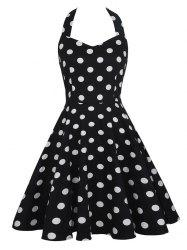 Retro Style Halter Polka Dot Sleeveless Dress
