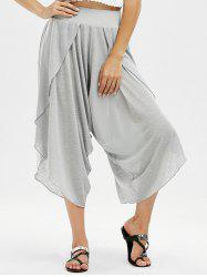 Slit Marled Capri Pants - LIGHT GRAY