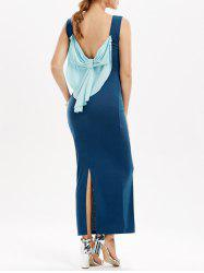Open Back Bowknot Slit Maxi Dress