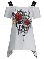 Plus Size Skull Print Cold Shoulder Top - Gray - 3xl