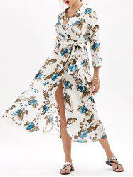 Empire Waist Floral Print Slit Belted Dress