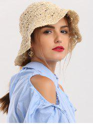 Breathable Crocheted Folded Straw Hat - BEIGE
