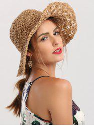 Crocheting Wide Brim Folded Straw Hat - KHAKI