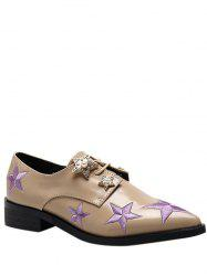 Star Pattern Embroidery Flat Shoes