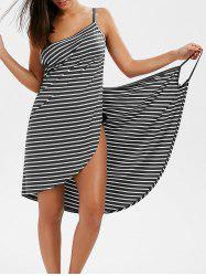 Pinstripe Open Back Cover-ups Dress - GRAY