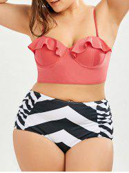Zigzag High Waisted Plus Size Underwire Bathing Suit -