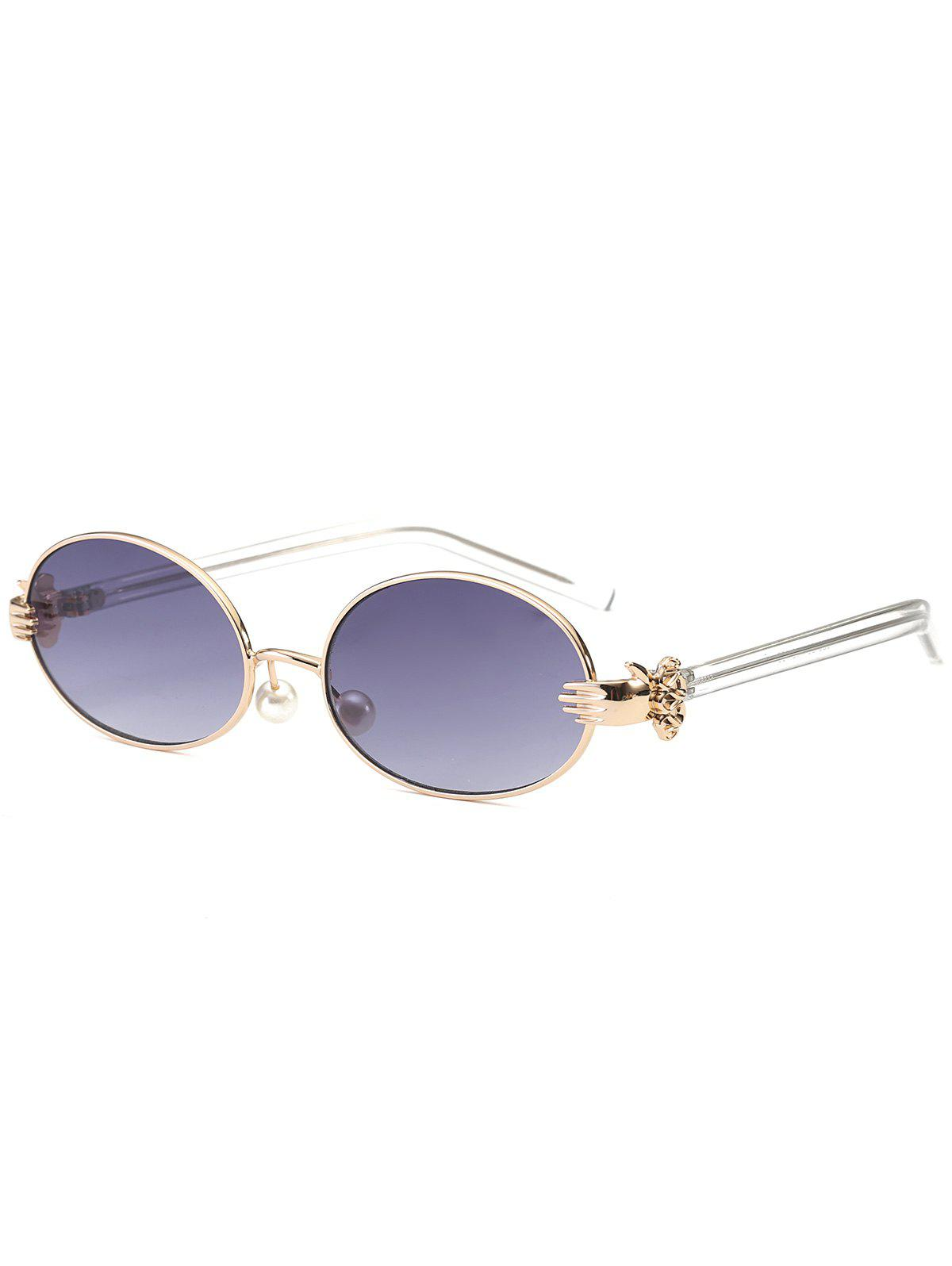 Store Oval Faux Pearl Nose Pad Metallic Hand Sunglasses