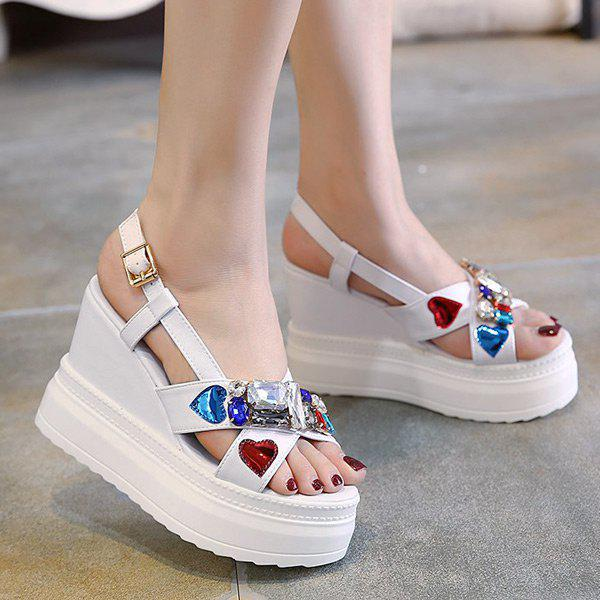 Shops Rhinestones Heart Pattern Sandals