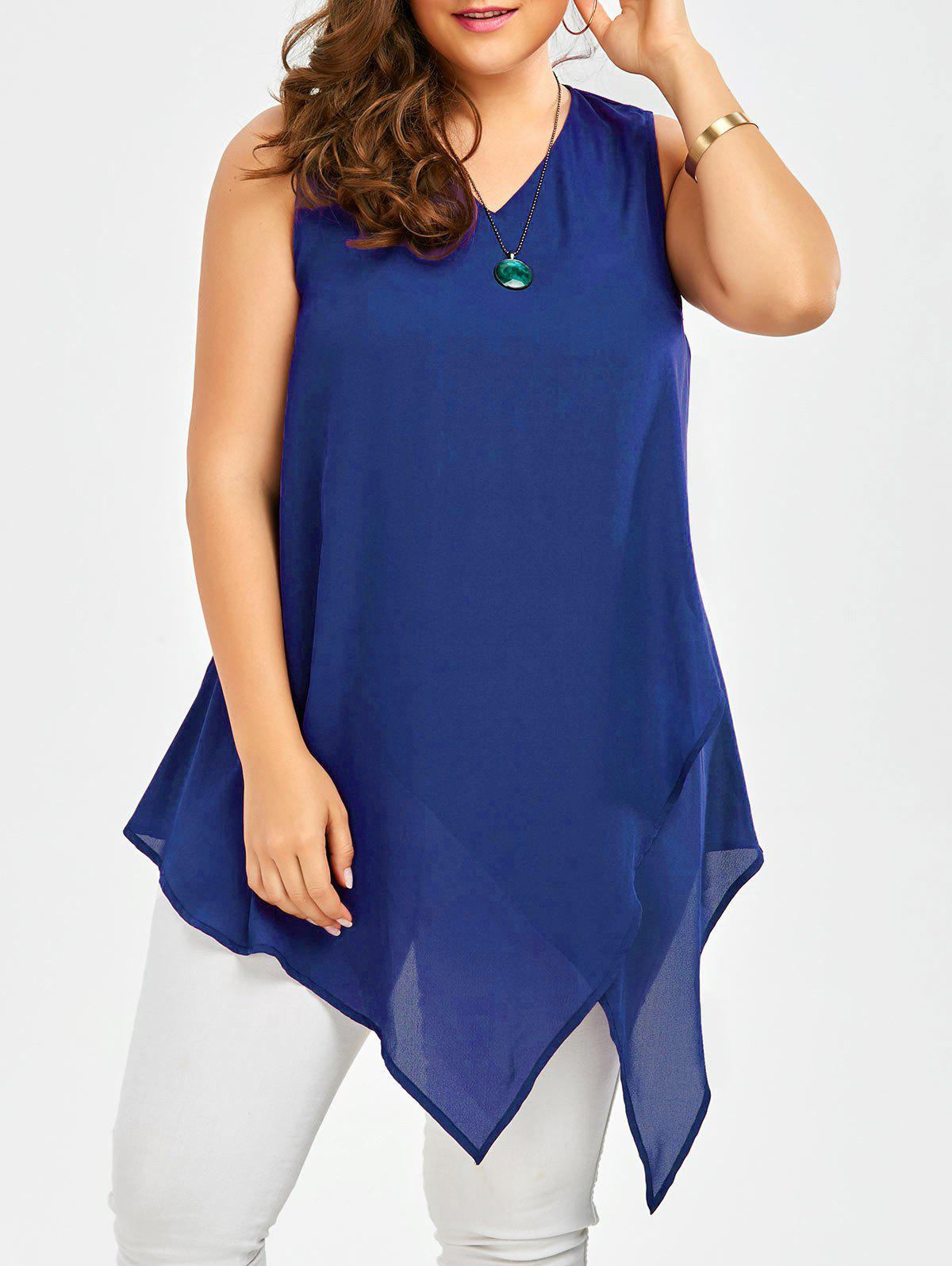 Plus Size Sleeveless V Neck Asymmetric Tank TopWOMEN<br><br>Size: 2XL; Color: BLUE; Material: Polyester; Shirt Length: Long; Sleeve Length: Sleeveless; Collar: V-Neck; Style: Casual; Season: Summer; Pattern Type: Solid; Weight: 0.2500kg; Package Contents: 1 x Tank Top;
