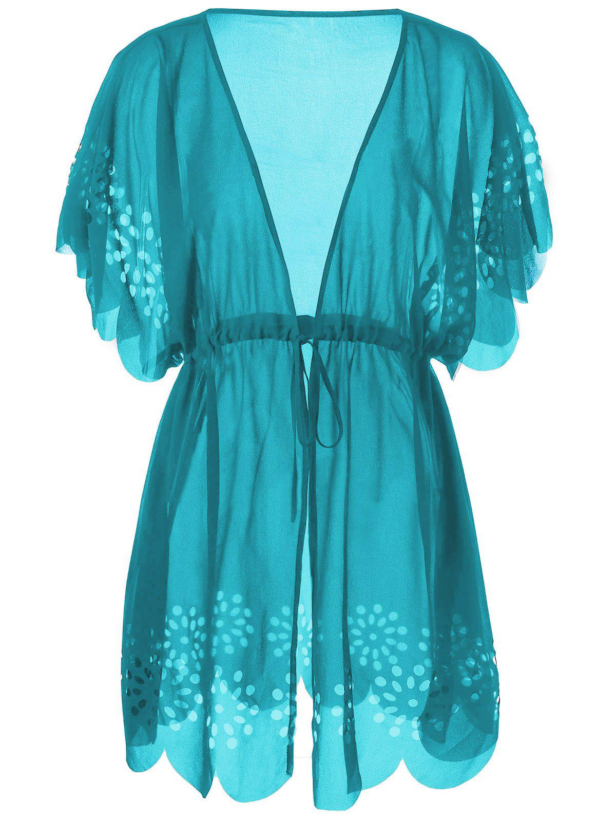 Tie Front Scalloped Plus Size Cover-UpsWOMEN<br><br>Size: 3XL; Color: PEACOCK BLUE; Gender: For Women; Swimwear Type: Cover-Up; Material: Polyester; Pattern Type: Others; Waist: High Waisted; Weight: 0.2600kg; Package Contents: 1 x Cover-Ups;