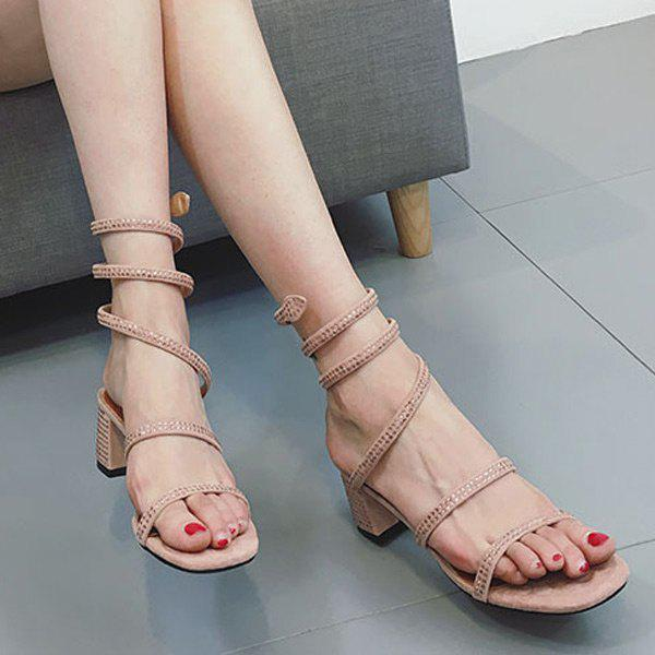 Affordable Mid Heel Rhinestones Strappy Sandals