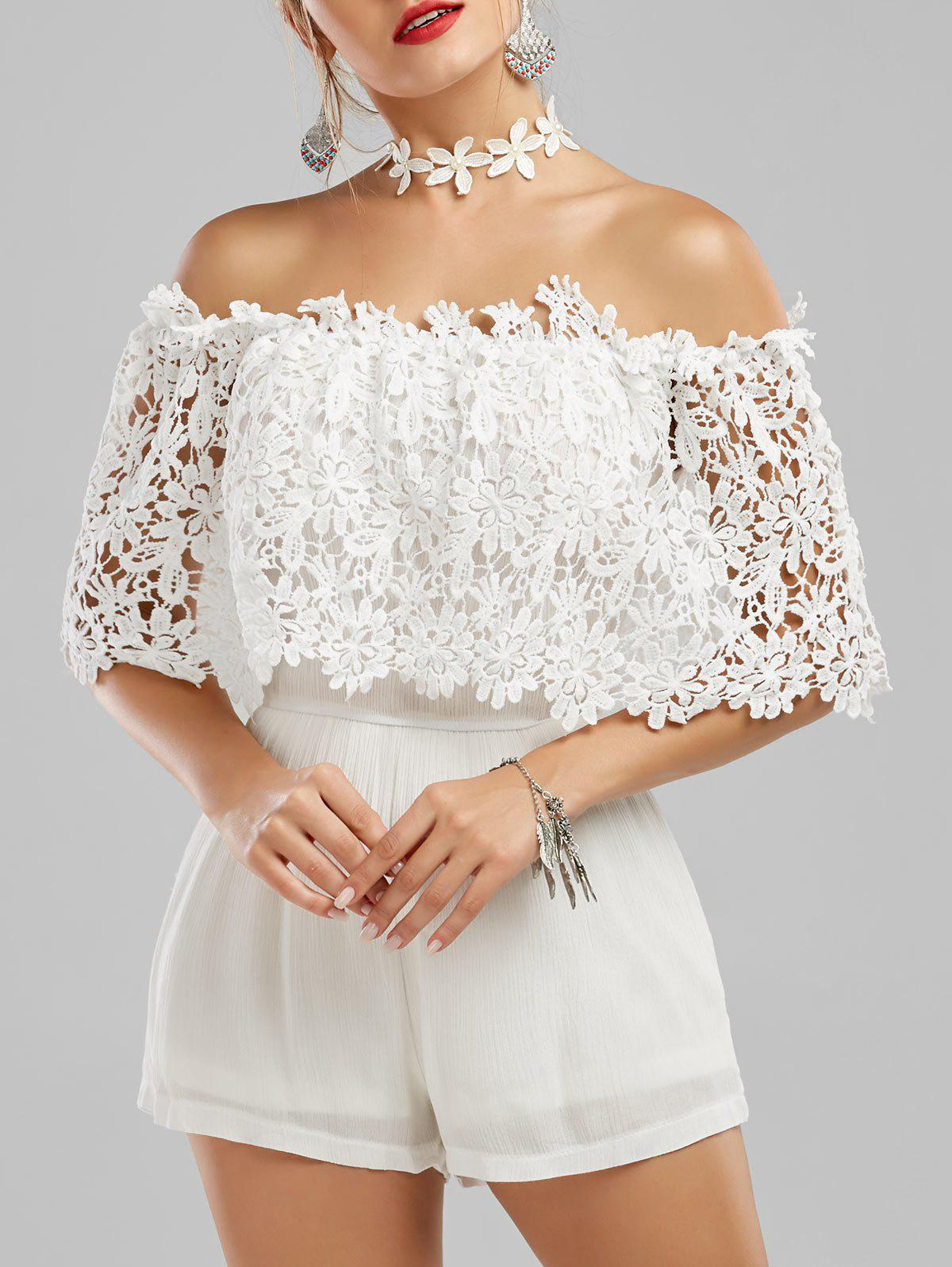 Fancy Off The Shoulder Crochet Lace Panel Romper
