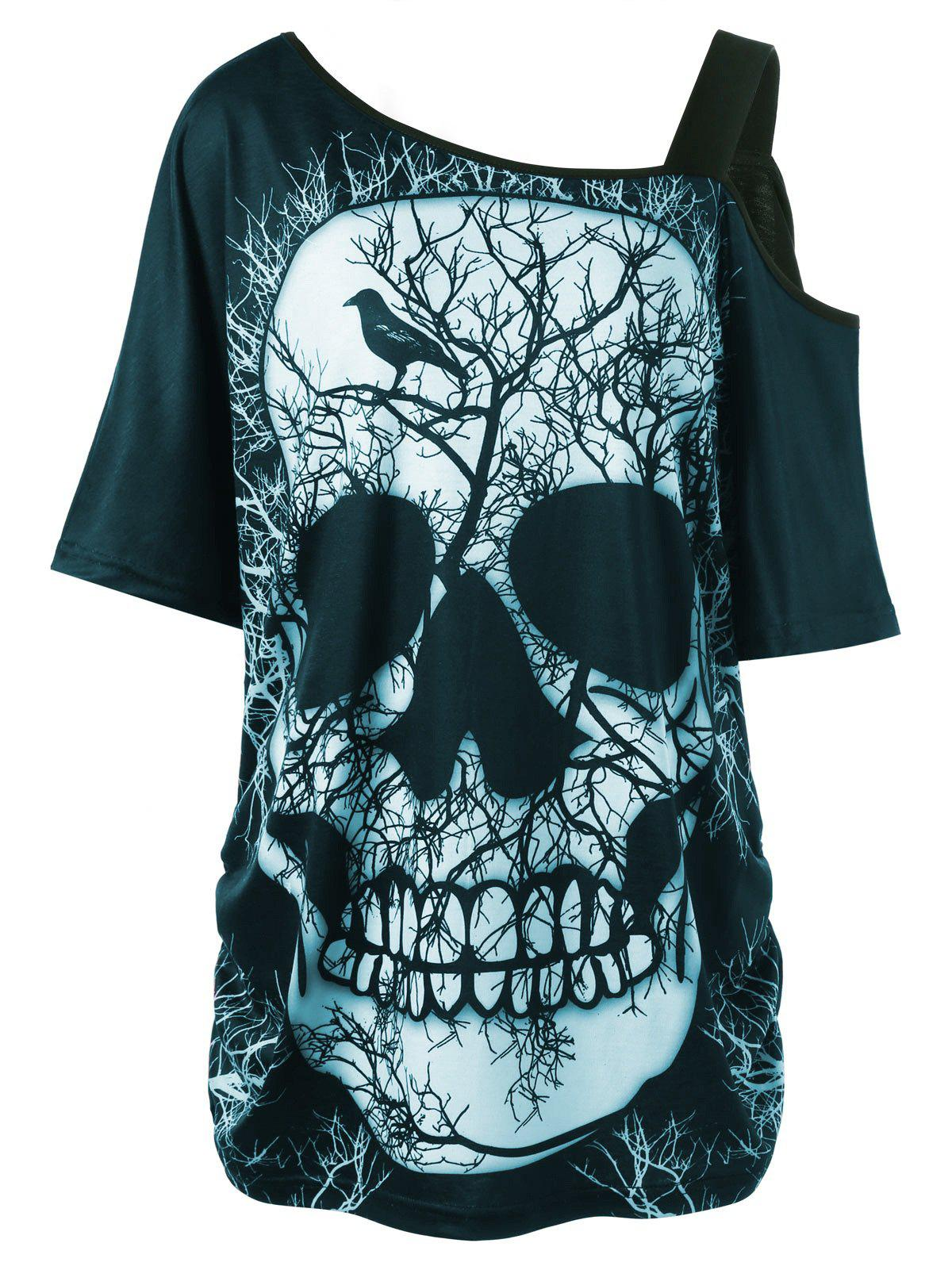 Plus Size Skull Skew Collar Long T-shirtWOMEN<br><br>Size: XL; Color: CYAN; Material: Polyester,Spandex; Shirt Length: Long; Sleeve Length: Short; Collar: Skew Collar; Style: Casual; Season: Summer; Pattern Type: Skulls; Weight: 0.3000kg; Package Contents: 1 x T-shirt;
