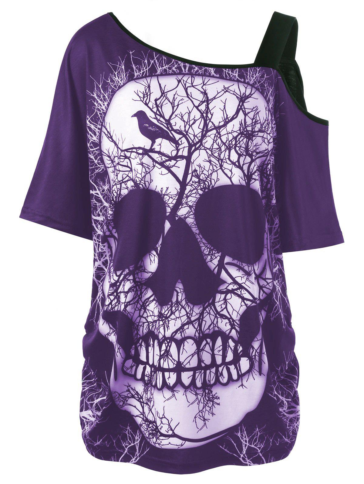 Plus Size Skull Skew Collar Long T-shirtWOMEN<br><br>Size: 5XL; Color: PURPLE; Material: Polyester,Spandex; Shirt Length: Long; Sleeve Length: Short; Collar: Skew Collar; Style: Casual; Season: Summer; Pattern Type: Skulls; Weight: 0.3000kg; Package Contents: 1 x T-shirt;