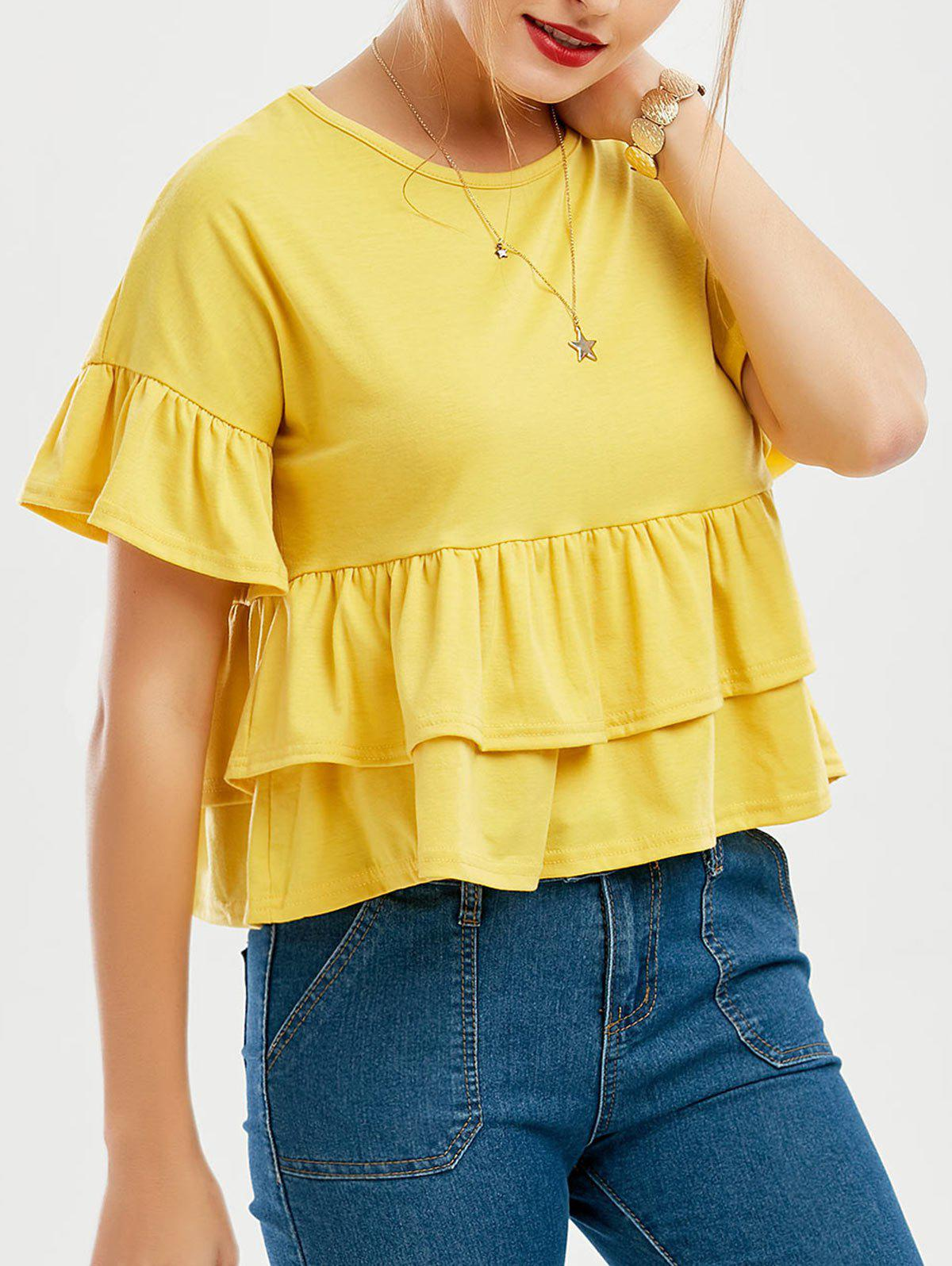 Discount Flare Sleeve Layered Flounce Top
