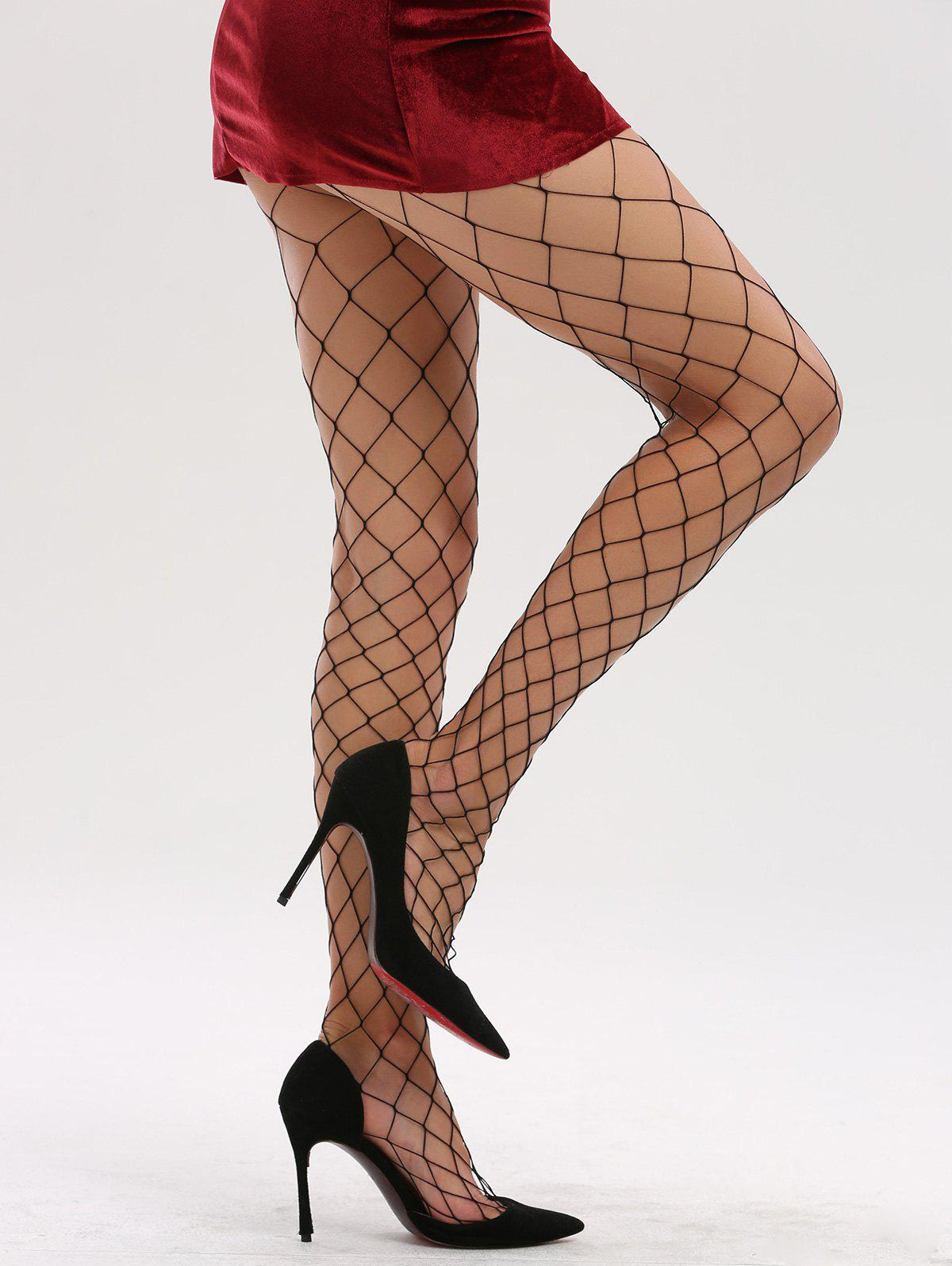 See Through Hollow Out Fishnet TightsACCESSORIES<br><br>Color: FULL BLACK; Type: Tights; Group: Adult; Gender: For Women; Style: Fashion; Pattern Type: Solid; Material: Spandex; Weight: 0.0600kg; Package Contents: 1 x Tights;
