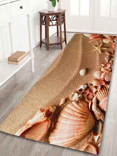 Beach Shell Coral Velvet Non-slip Bathroom RugHOME<br><br>Size: W16 INCH * L47 INCH; Color: BROWN; Products Type: Bath rugs; Materials: Coral FLeece; Pattern: Print; Style: Beach Style; Shape: Rectangle; Package Contents: 1 x Area Rug;