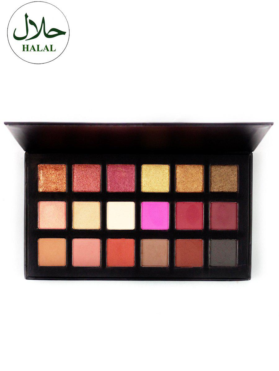 Halal 18 Colours Matte Shimmer Powder Eyeshadow PaletteBEAUTY<br><br>Color: COLORFUL; Category: Shadow; Type: Powder; Season: Fall,Spring,Summer,Winter; Length(CM): 18.1CM; Width(CM): 10.3CM; Weight: 0.1800kg; Package Contents: 1 x Eyeshadow Palette;