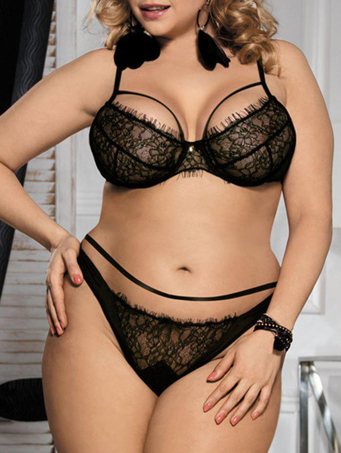 Lace Underwire Plus Size Balcony Bra SetWOMEN<br><br>Size: 3XL; Color: BLACK; Materials: Polyester; Bra Style: Unlined; Cup Shape: Three Quarters(3/4 Cup); Support Type: Underwire; Strap Type: Adjusted-straps; Closure Style: Back Closure; Pattern Type: Solid; Embellishment: Lace; Style: Everyday; Weight: 0.1500kg; Package Contents: 1 x Bra  1 x Panties;