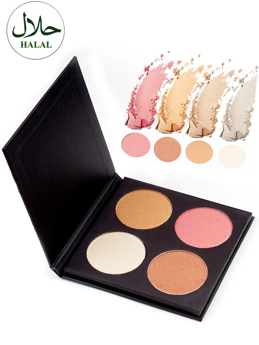Halal 4 Colors Soft Mineral Highlighting PaletteBEAUTY<br><br>Color: COLORFUL; Category: Highlighters&amp;Bronzers; Type: Powder; Season: Fall,Spring,Summer,Winter; Size(CM)(L*W*H): 13*13*1.3CM; Weight: 0.1400kg; Package Contents: 1 x Hightlighter Palette;