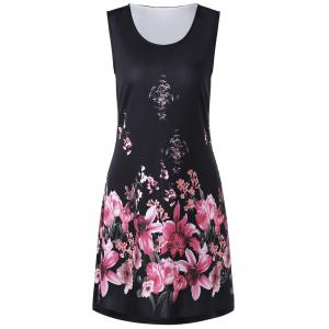 Floral Print Sleeveless Shift Dress - Black - 2xl