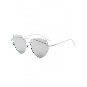 Metallic Long Crossbar Cat Eye Design Sunglasses - Silver - 39