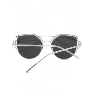 Metallic Long Crossbar Cat Eye Design Sunglasses -