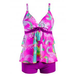 Plus Size Flounce Print Tankini Set - Purple - 2xl