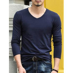 Long Sleeve V Neck Basic Tee