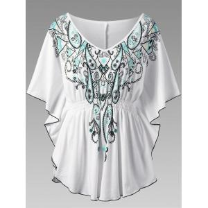 Butterfly Sleeve Graphic Asymmetrical Plus Size Top