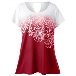 Plus Size Floral Ombre Tee - Red - 2xl