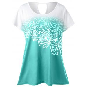 Plus Size Floral Ombre Tee - Green - 5xl