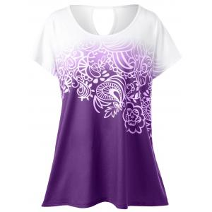Plus Size Floral Ombre Tee - Purple - 3xl