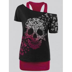 Plus Size Butterfly Skull T-shirt and Tank Top - Red - 3xl