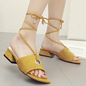 Chunky Heel Circular Hole Sandals - Ginger - 38