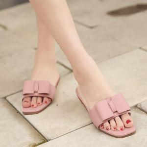 Faux Leather Bow Flat Heel Slippers - Pink - 38