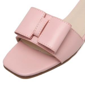 Faux Leather Bow Flat Heel Slippers - PINK 38