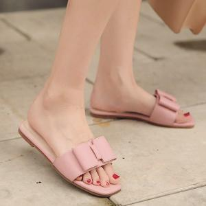Faux Leather Bow Flat Heel Slippers -