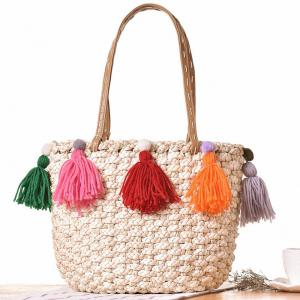 Tassels Straw Woven Tote Bag - Off-white