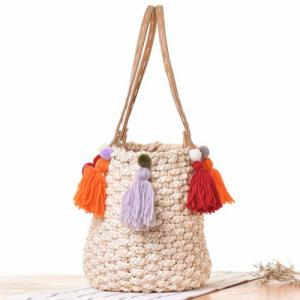 Tassels Straw Woven Tote Bag - OFF WHITE
