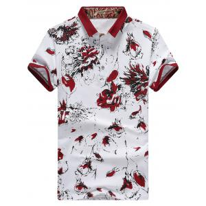 Floral Printed Half Button Polo Shirt - Red - 3xl