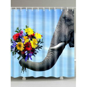 Mildew Resistant Flower Elephant Shower Curtain