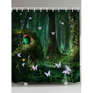 Mew Forest Mildew Resistant Fabric Shower Curtain - Blackish Green - W71 Inch * L79 Inch